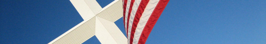 a picture of the american flag and a christian cross
