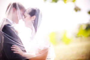 A picture of my wife and me from our wedding