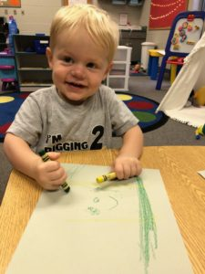 My son coloring on his first day of school