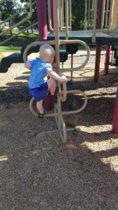 My son climbing a more complex ladder