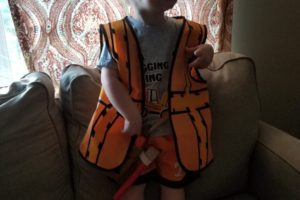 My son in a construction worker outfit
