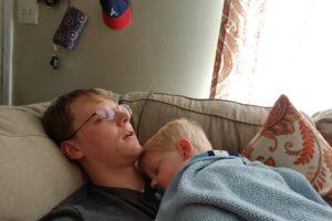 My son sleeping on my chest.
