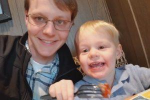 Ezra and I eating Chik-Fil-A