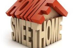 Word art picture of Home Sweet Home arranged in the shape of a house.