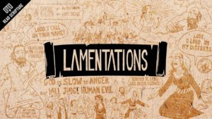 A picture of quotes from Lamentations surrounding the book's name.