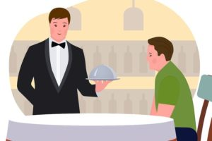 Picture of a waiter serving a customer.