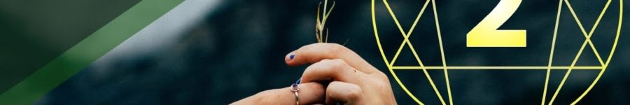 A picture of two people passing a flower with the symbol for the Enneagram Type 2 in the background