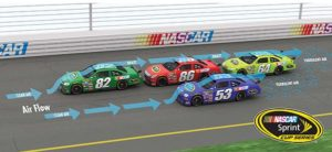 A picture depicting race cars drafting