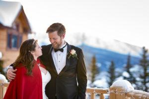 Deidra in her wedding dress with her Husband Matthew.
