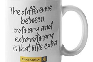 """A picture of a mug saying """"the difference between ordinary and extraordinary is that little bit extra."""""""