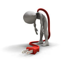 A picture of a humanoid with a plug coming out of him without reaching the wall.