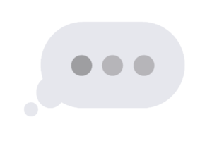 A picture of an ellipsis in a thought cloud. These are the imessage bubbles that load when people are communicating via text