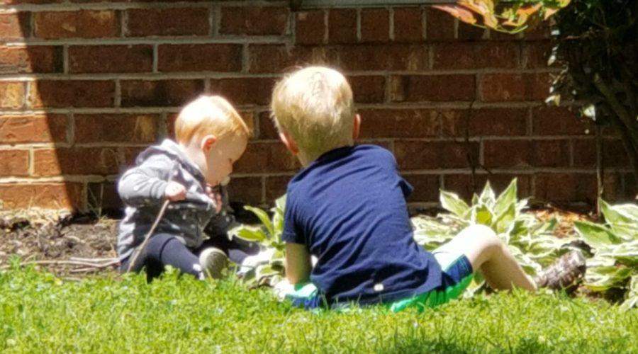 My children playing in our garden