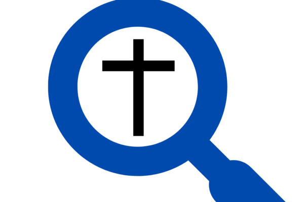 A magnifying glass looking a Christian cross. The title reads,